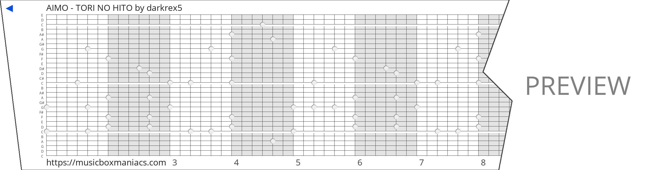 AIMO - TORI NO HITO 30 note music box paper strip