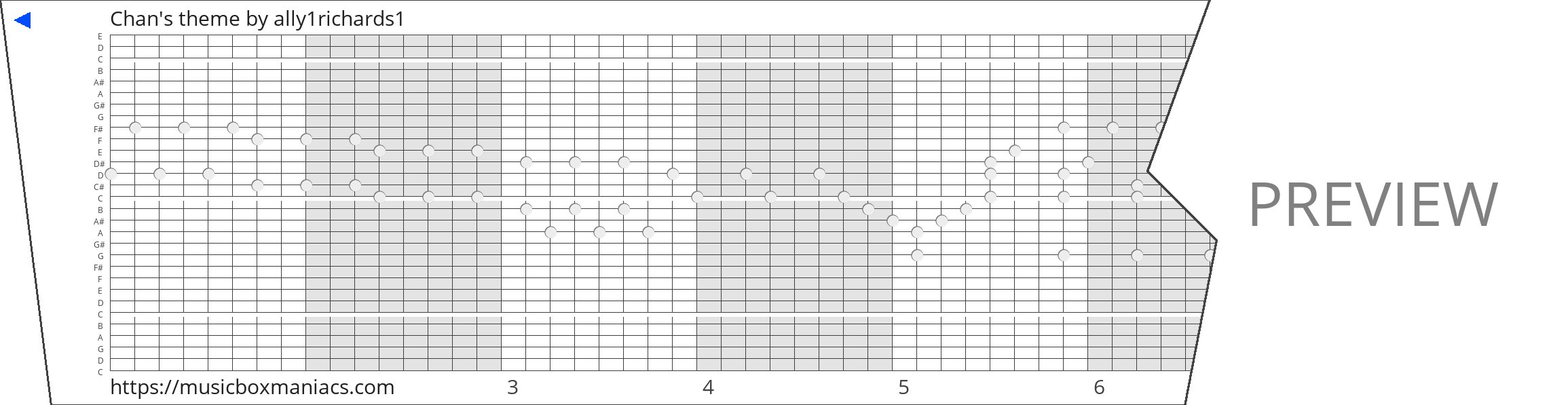 Chan's theme 30 note music box paper strip
