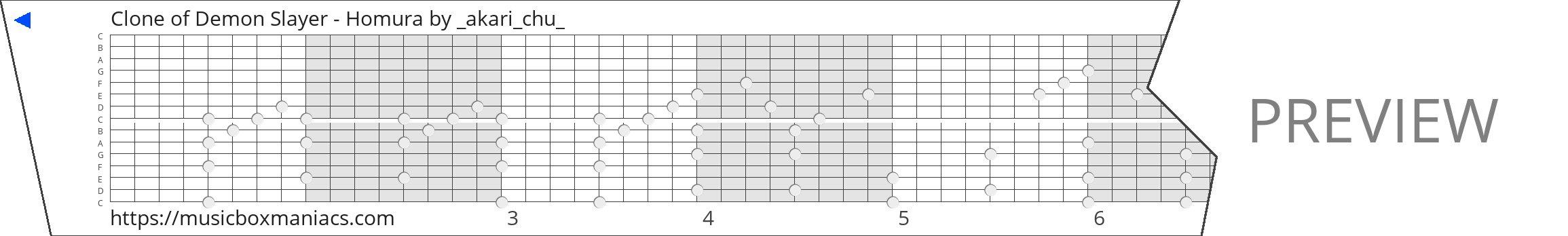 Clone of Demon Slayer - Homura 15 note music box paper strip