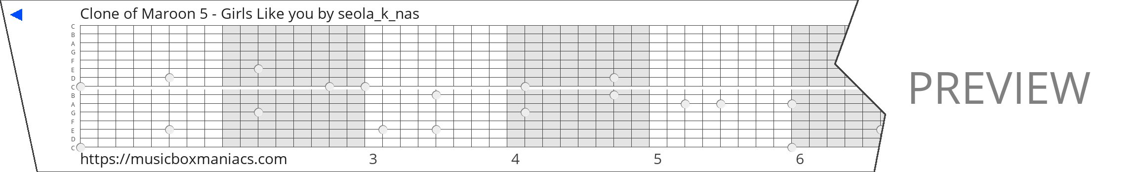 Clone of Maroon 5 - Girls Like you 15 note music box paper strip