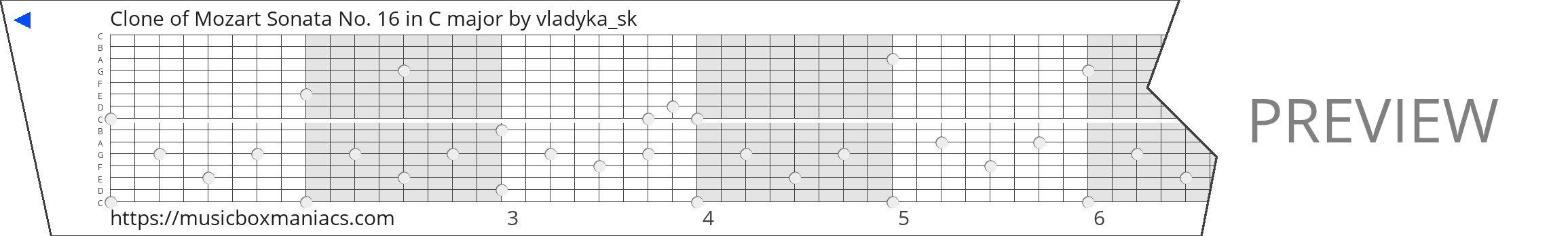 Clone of Mozart Sonata No. 16 in C major 15 note music box paper strip