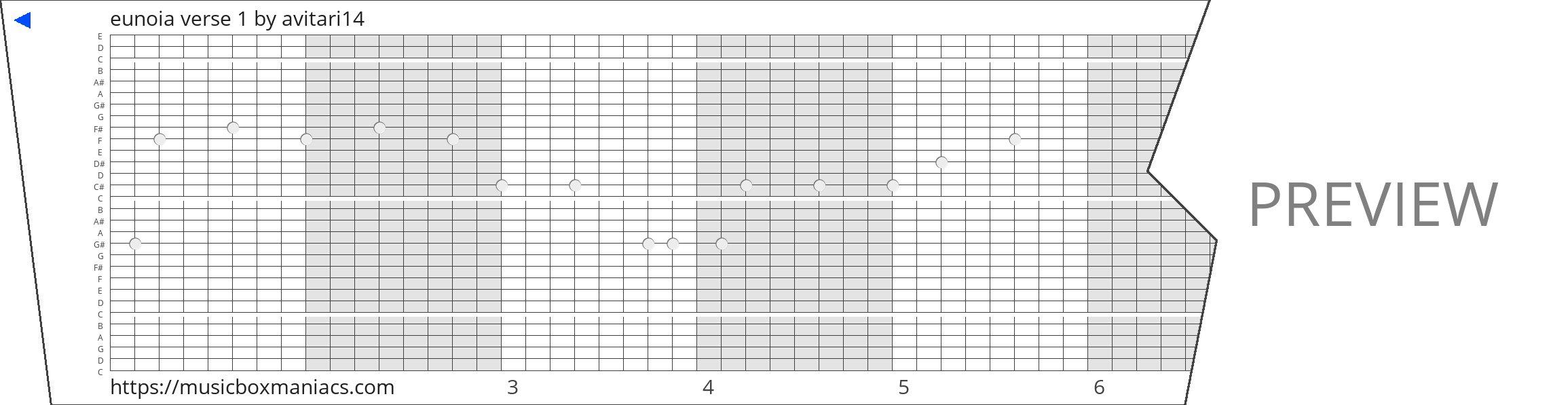eunoia verse 1 30 note music box paper strip
