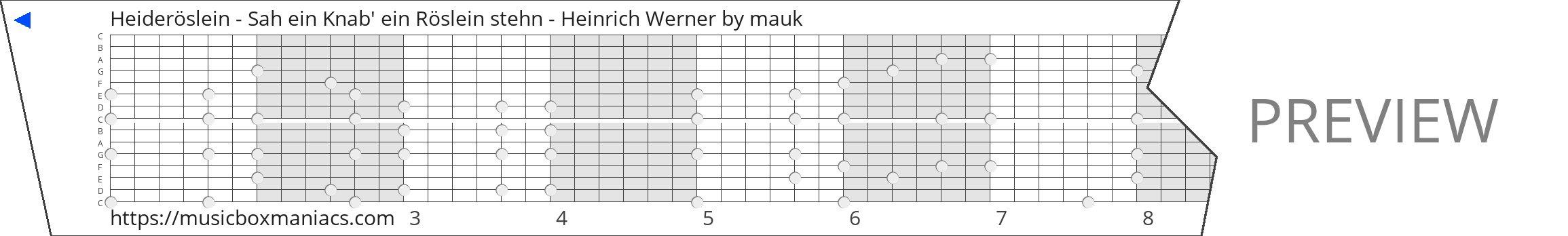 Heideröslein - Sah ein Knab' ein Röslein stehn - Heinrich Werner 15 note music box paper strip