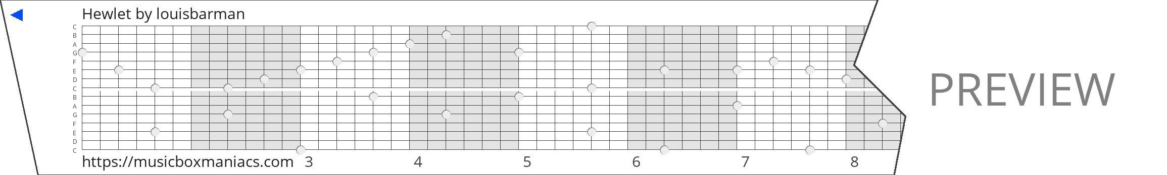 Hewlet 15 note music box paper strip