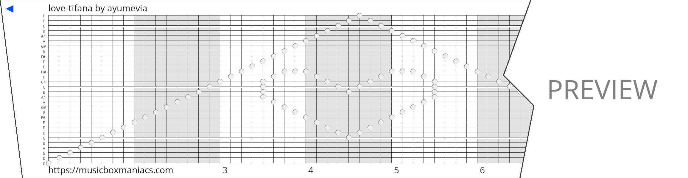 love-tifana 30 note music box paper strip