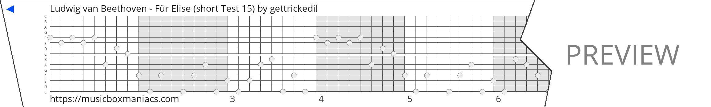 Ludwig van Beethoven - Für Elise (short Test 15) 15 note music box paper strip