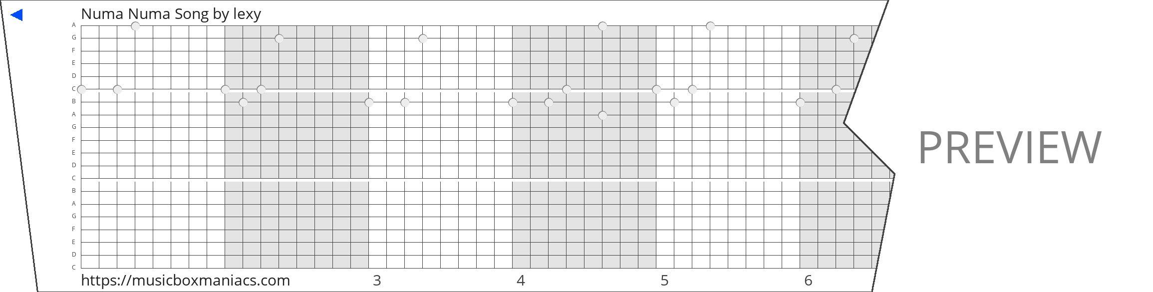 Numa Numa Song 20 note music box paper strip