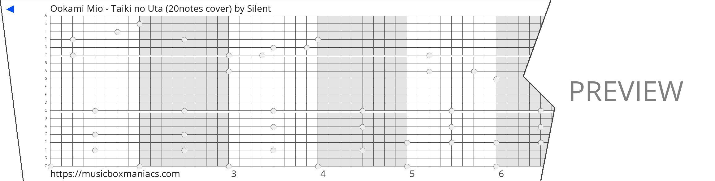 Ookami Mio - Taiki no Uta (20notes cover) 20 note music box paper strip