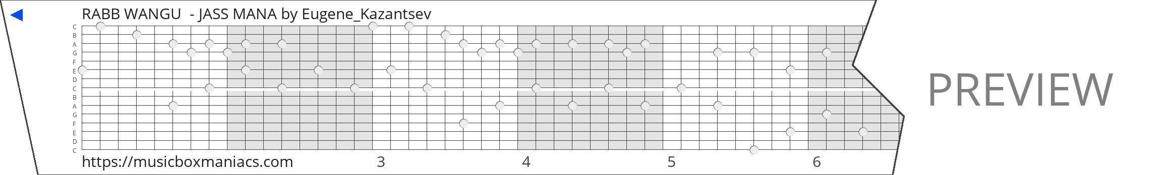 RABB WANGU  - JASS MANA 15 note music box paper strip