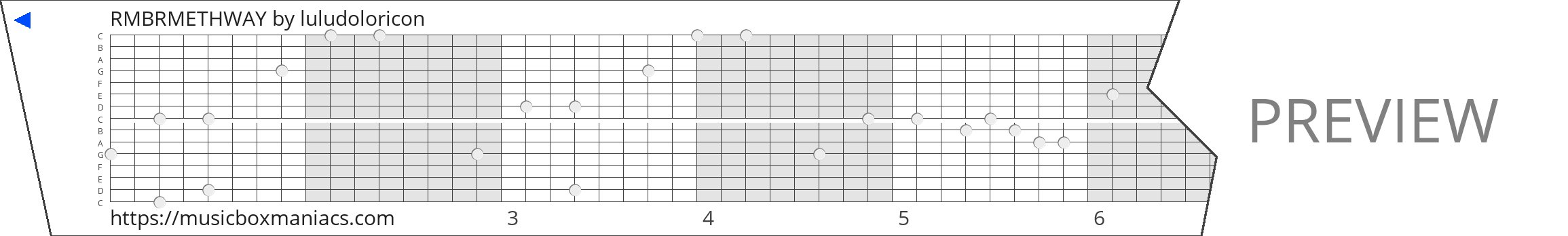 RMBRMETHWAY 15 note music box paper strip