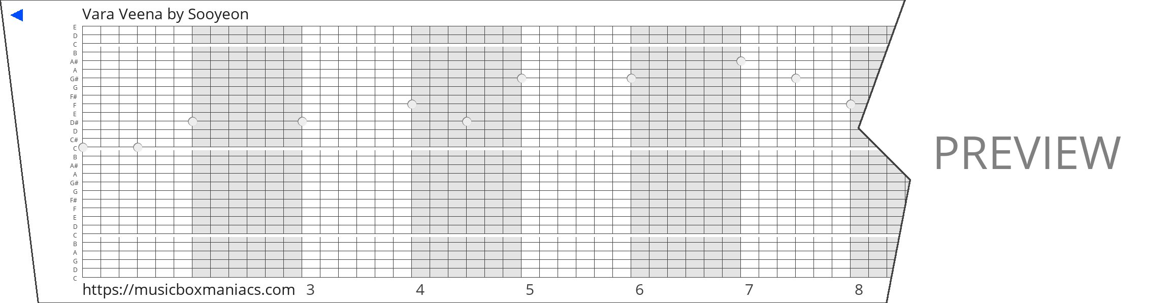 Vara Veena 30 note music box paper strip