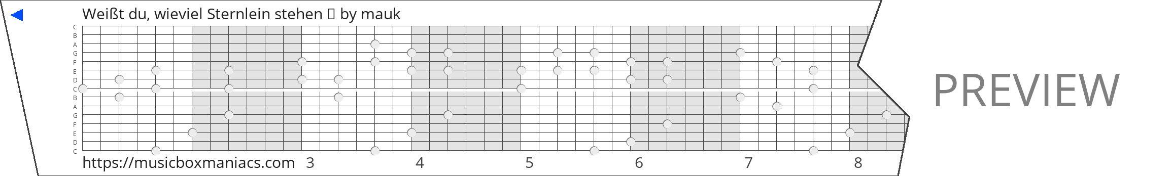 Weißt du, wieviel Sternlein stehen 🌃 15 note music box paper strip