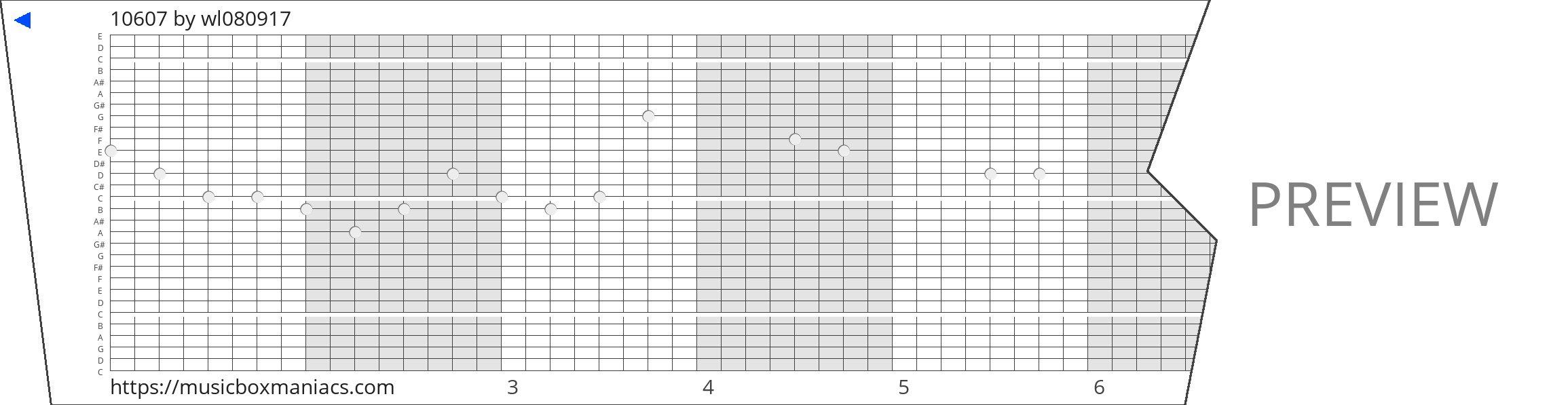 10607 30 note music box paper strip