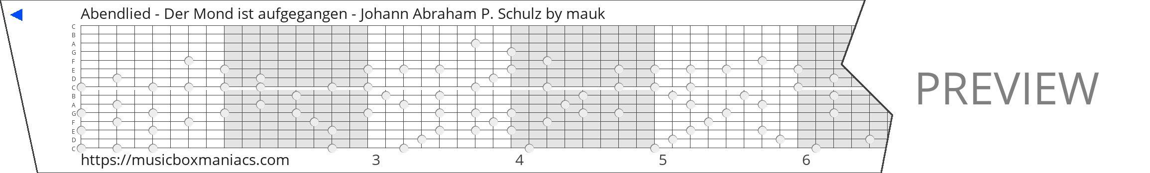Abendlied - Der Mond ist aufgegangen - Johann Abraham P. Schulz 15 note music box paper strip