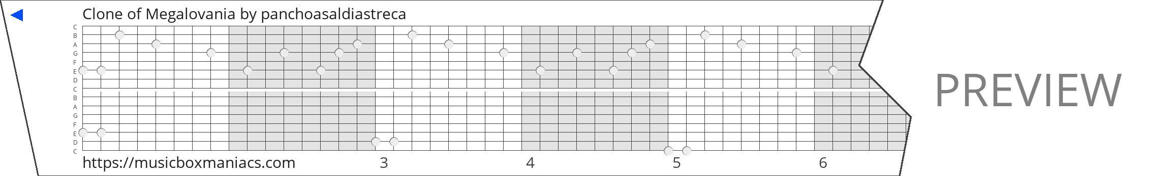 Clone of Megalovania 15 note music box paper strip