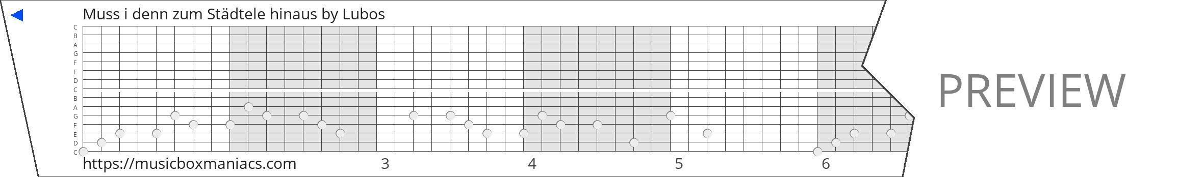 Muss i denn zum Städtele hinaus 15 note music box paper strip