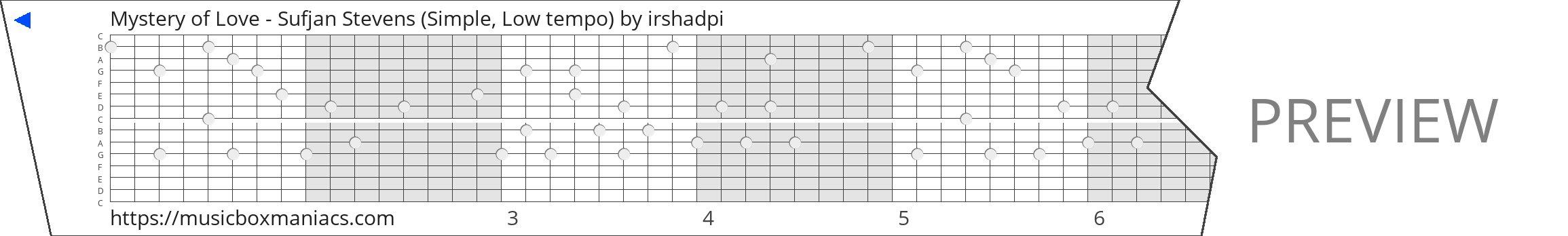 Mystery of Love - Sufjan Stevens (Simple, Low tempo) 15 note music box paper strip