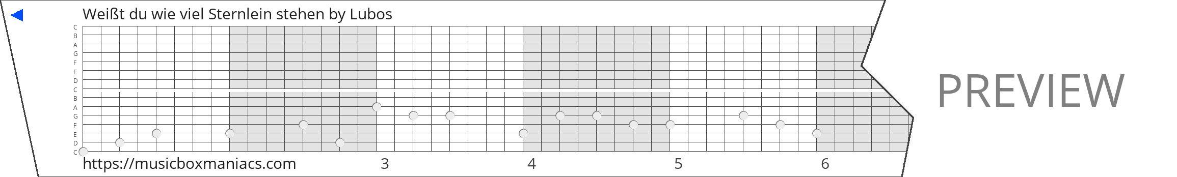 Weißt du wie viel Sternlein stehen 15 note music box paper strip