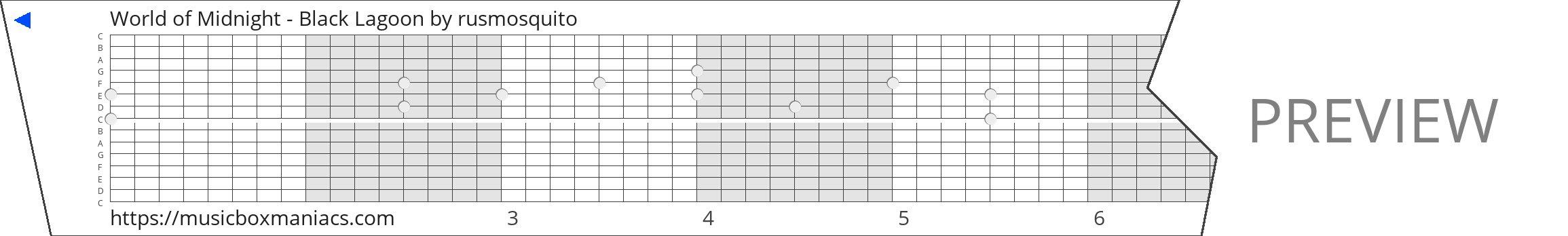 World of Midnight - Black Lagoon 15 note music box paper strip