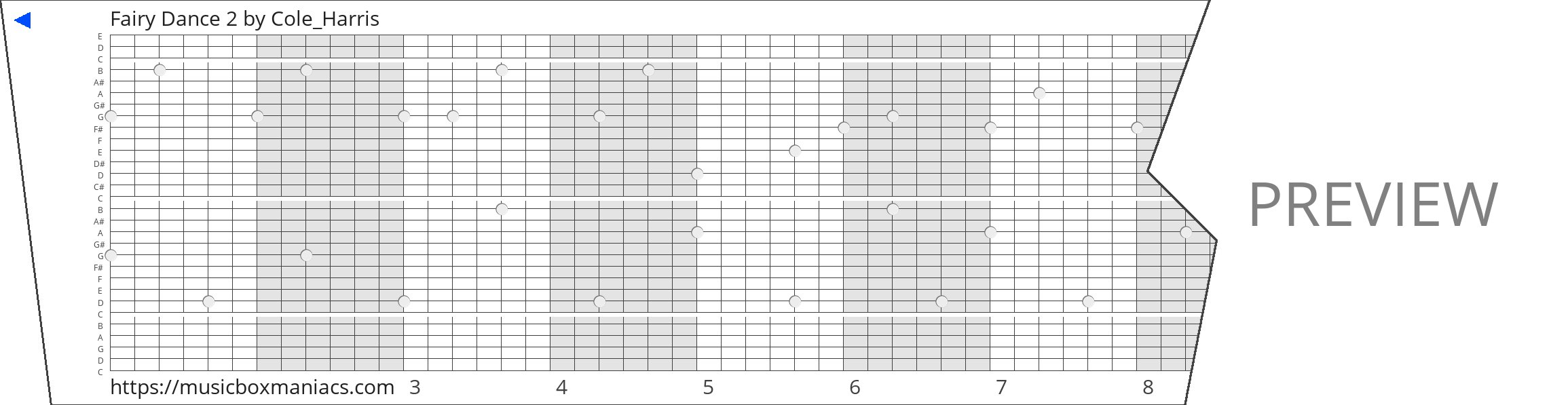 Fairy Dance 2 30 note music box paper strip