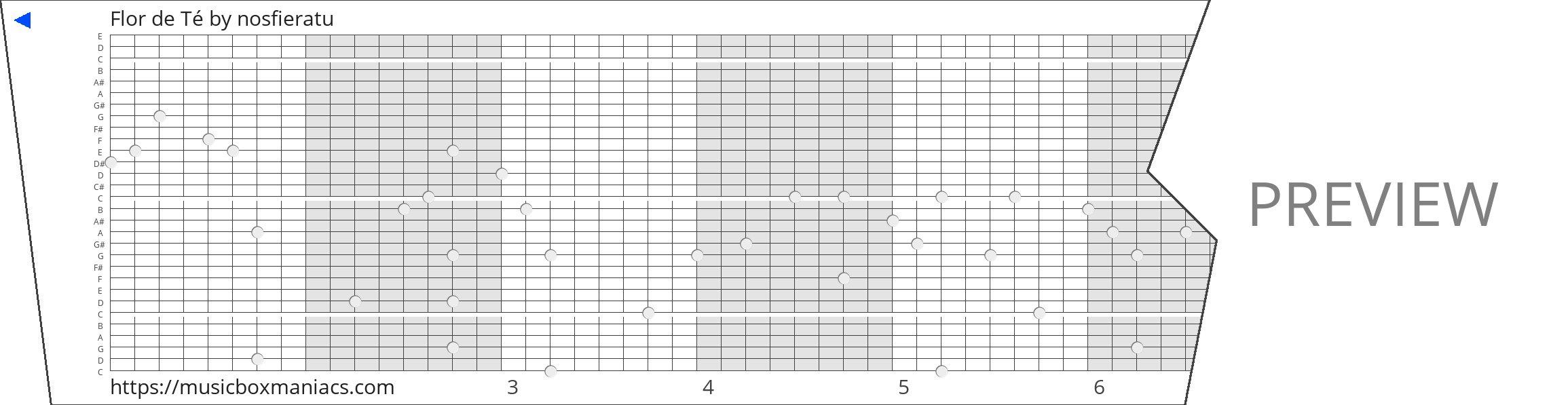 Flor de Té 30 note music box paper strip
