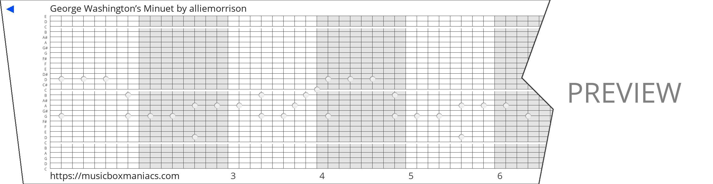 George Washington's Minuet 30 note music box paper strip