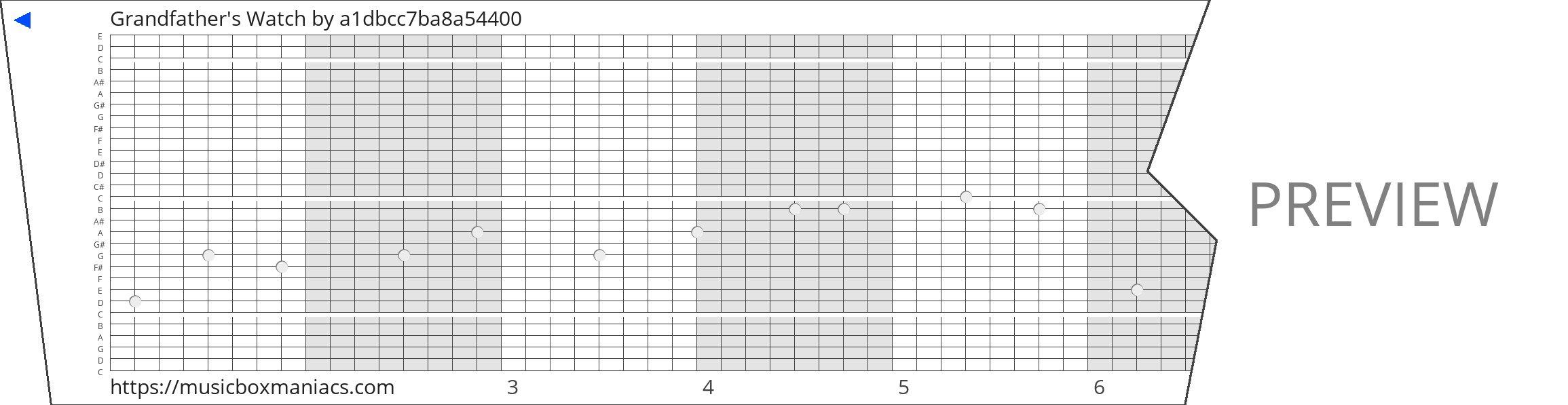 Grandfather's Watch 30 note music box paper strip