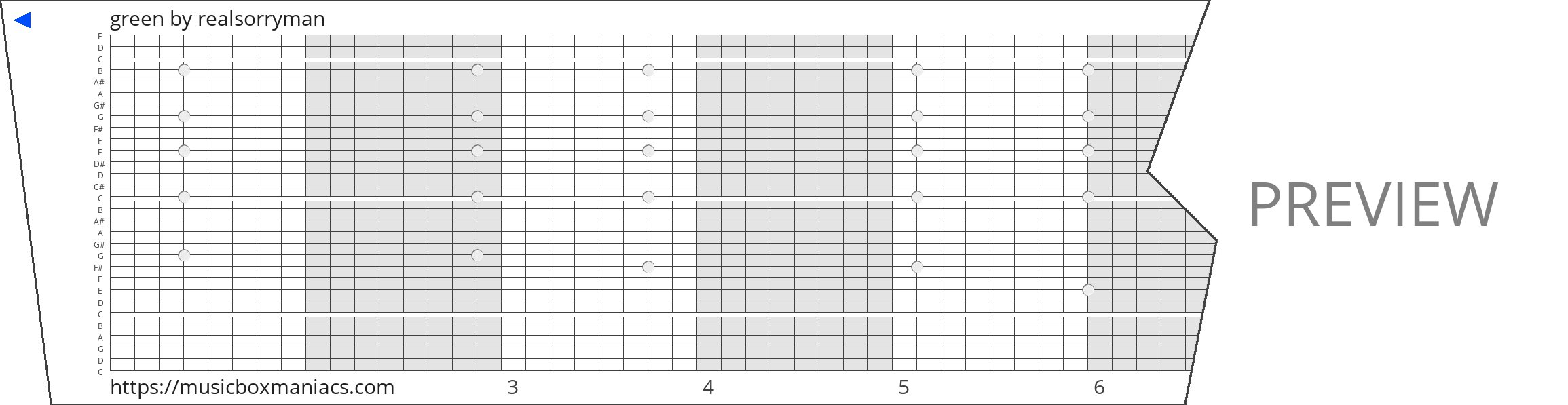 green 30 note music box paper strip