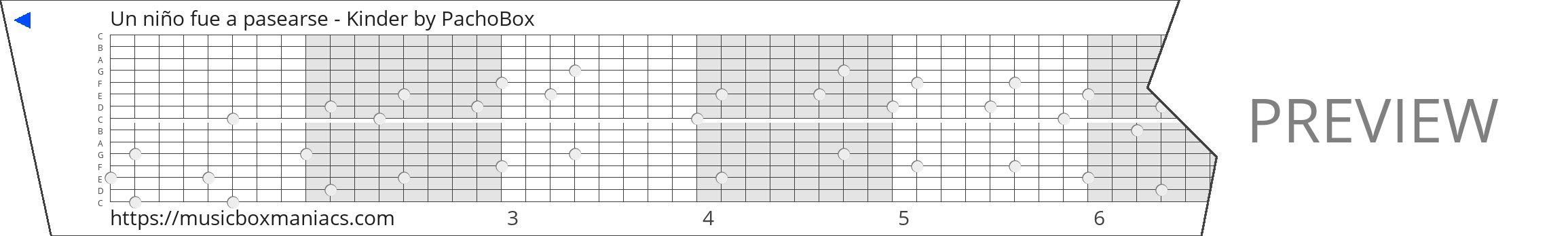 Un niño fue a pasearse - Kinder 15 note music box paper strip