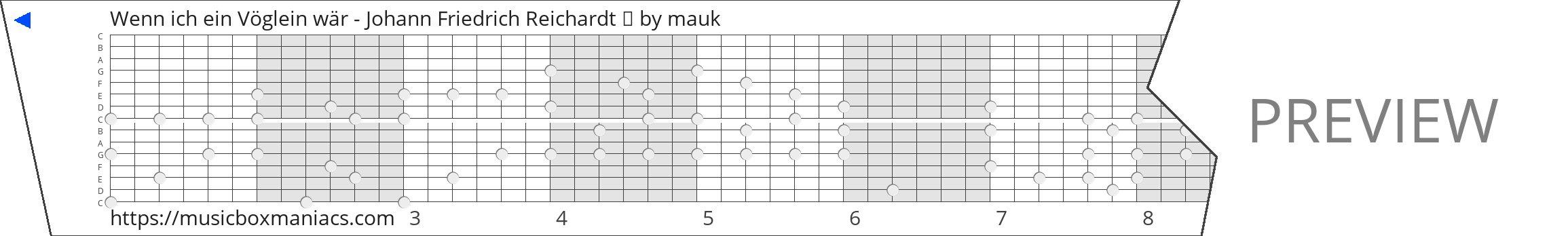 Wenn ich ein Vöglein wär - Johann Friedrich Reichardt 🐦 15 note music box paper strip