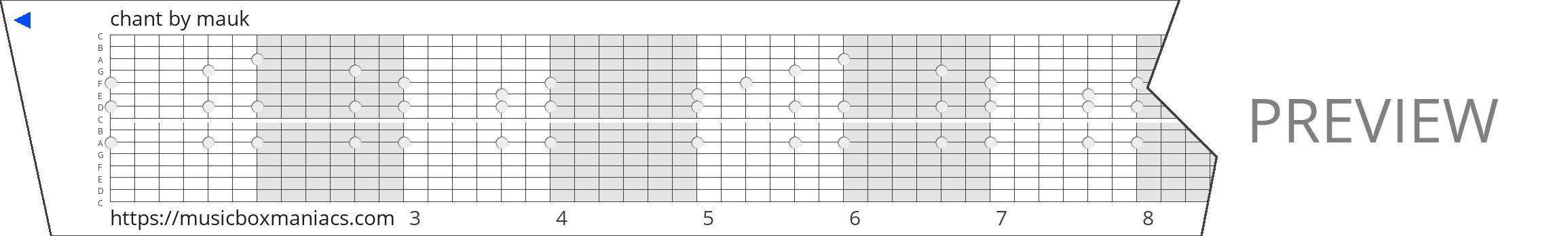 chant 15 note music box paper strip