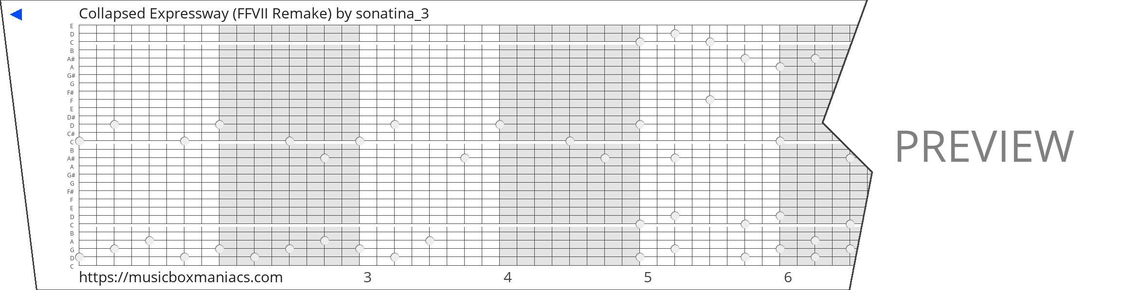 Collapsed Expressway (FFVII Remake) 30 note music box paper strip