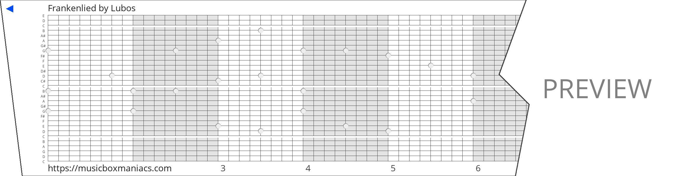 Frankenlied 30 note music box paper strip