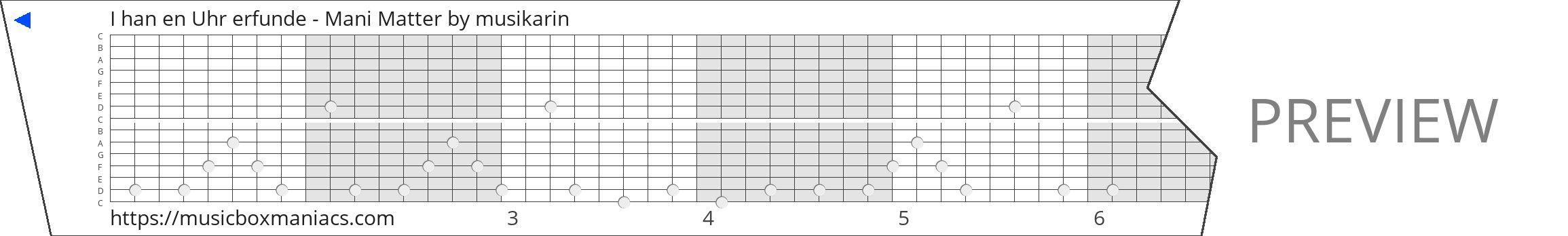 I han en Uhr erfunde - Mani Matter 15 note music box paper strip