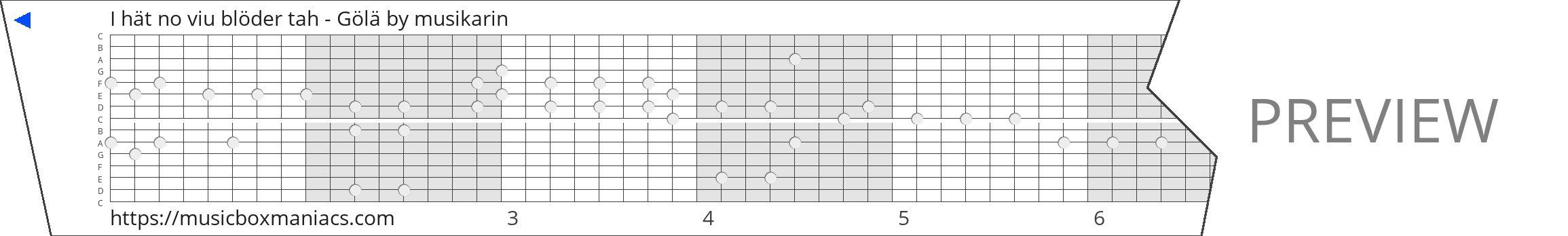 I hät no viu blöder tah - Gölä 15 note music box paper strip