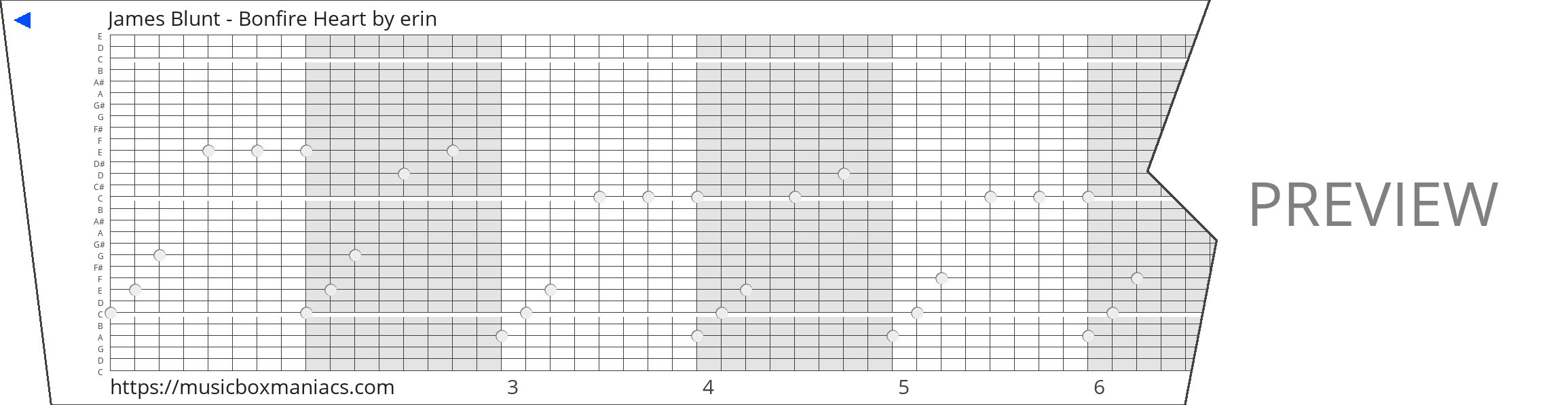 James Blunt - Bonfire Heart 30 note music box paper strip