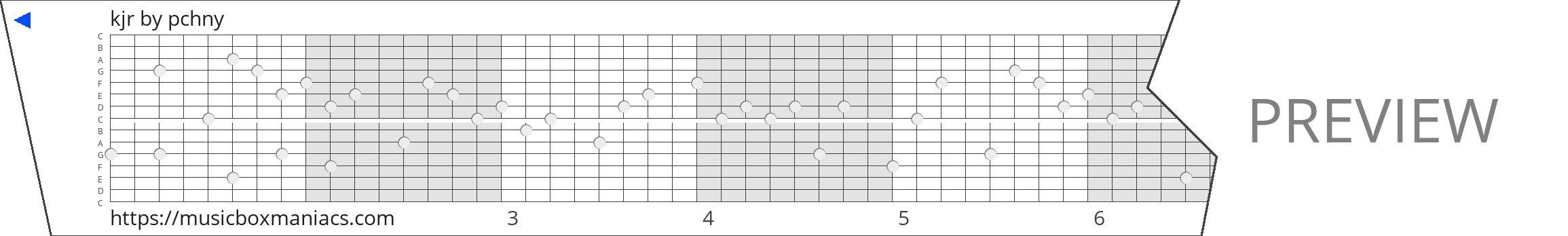 kjr 15 note music box paper strip