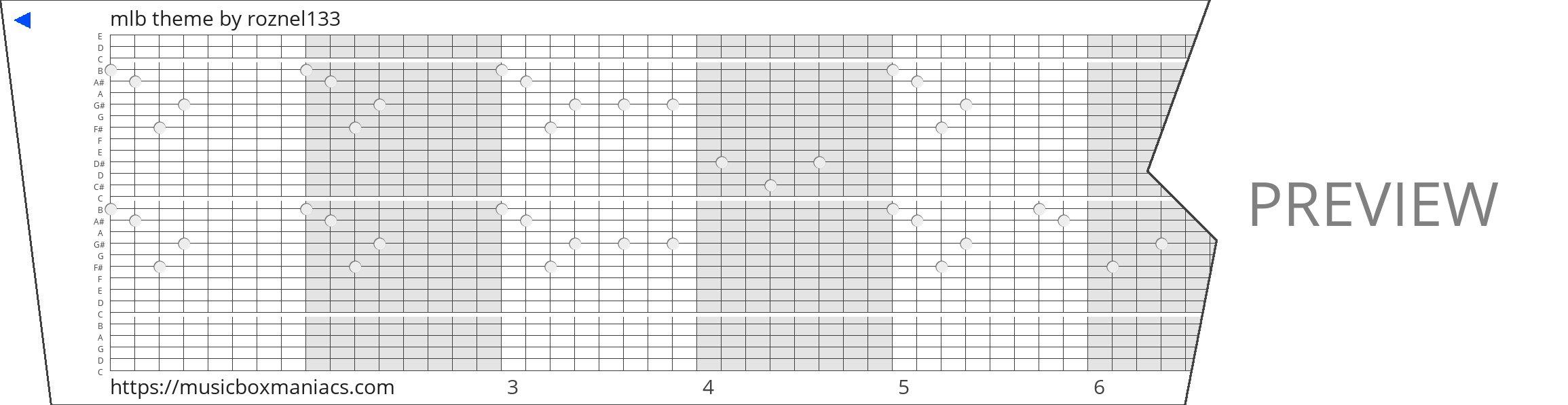mlb theme 30 note music box paper strip