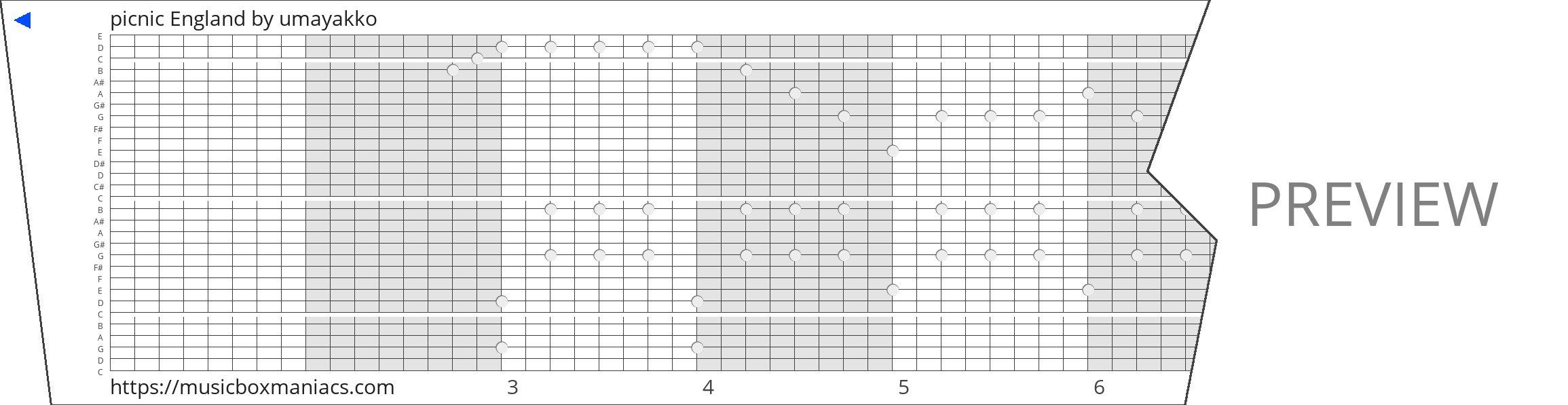 picnic England 30 note music box paper strip