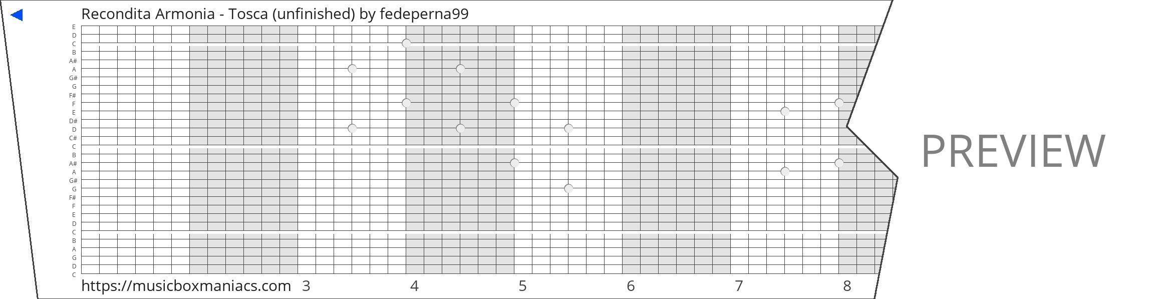 Recondita Armonia - Tosca (unfinished) 30 note music box paper strip