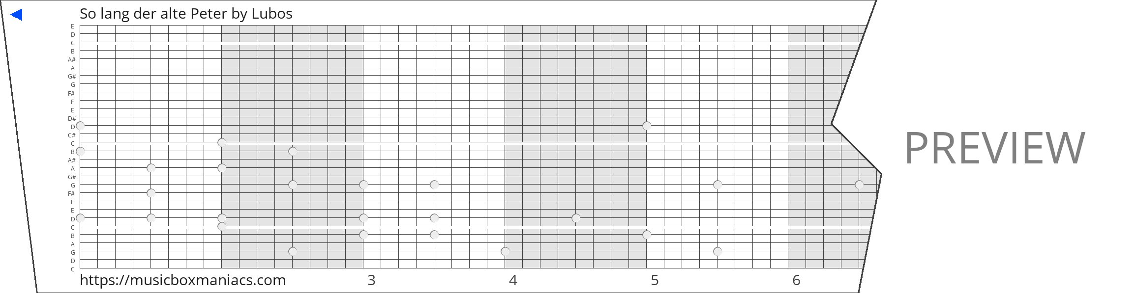 So lang der alte Peter 30 note music box paper strip