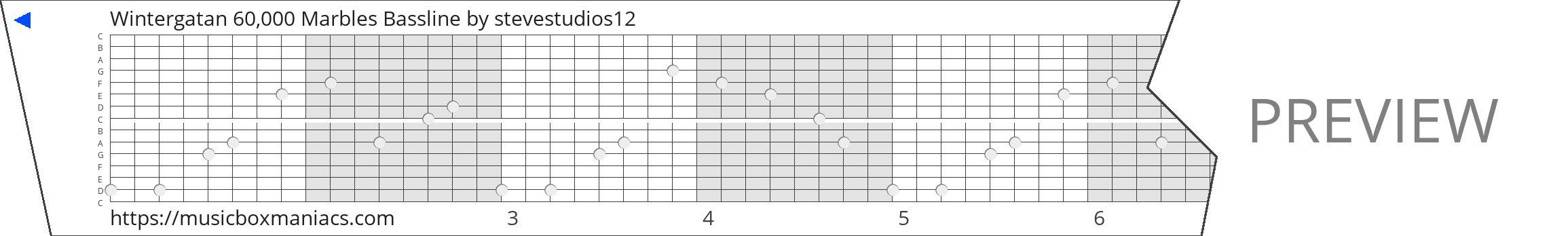 Wintergatan 60,000 Marbles Bassline 15 note music box paper strip