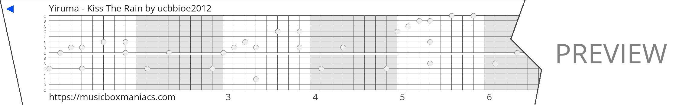 Yiruma - Kiss The Rain 15 note music box paper strip