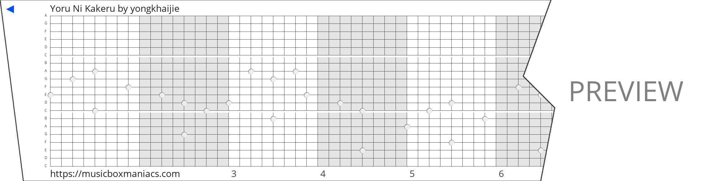 Yoru Ni Kakeru 20 note music box paper strip
