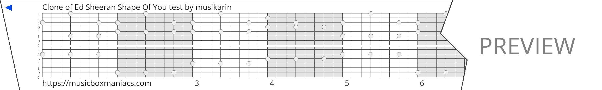 Clone of Ed Sheeran Shape Of You test 15 note music box paper strip