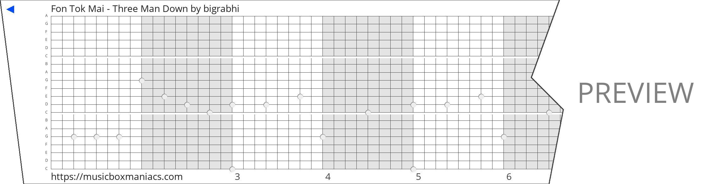 Fon Tok Mai - Three Man Down 20 note music box paper strip
