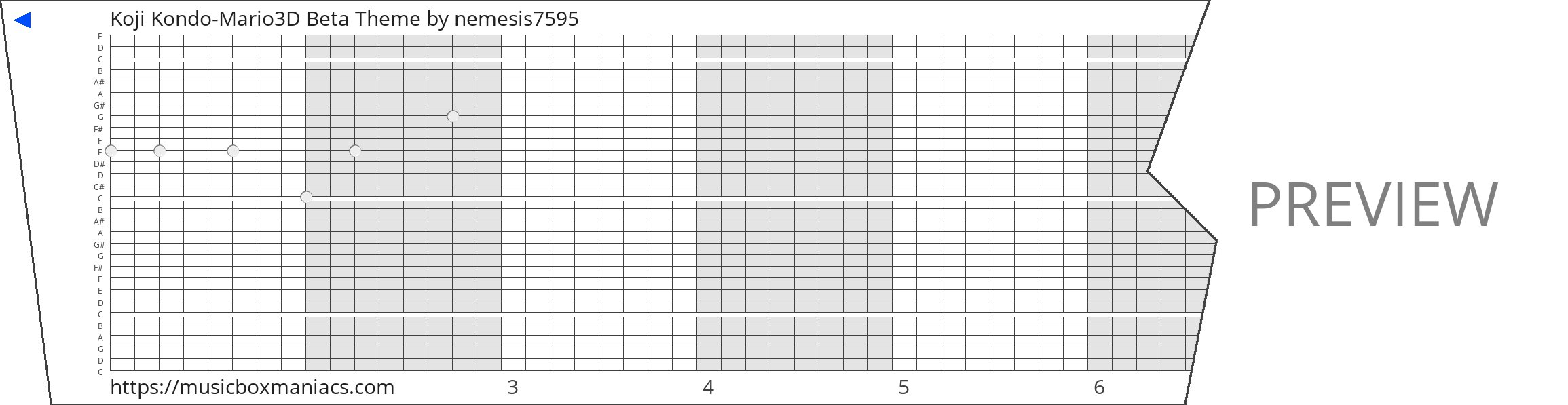 Koji Kondo-Mario3D Beta Theme 30 note music box paper strip