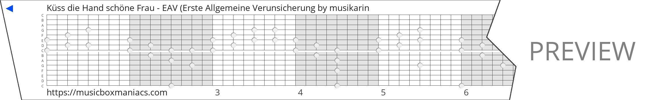 Küss die Hand schöne Frau - EAV (Erste Allgemeine Verunsicherung 15 note music box paper strip