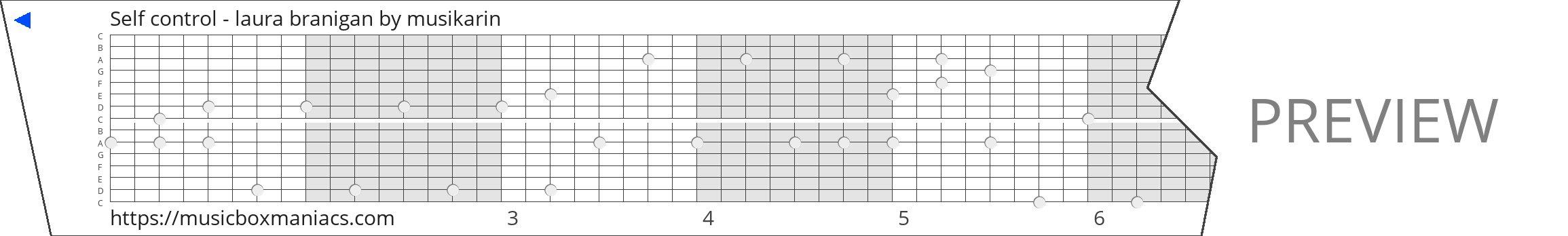 Self control - laura branigan 15 note music box paper strip