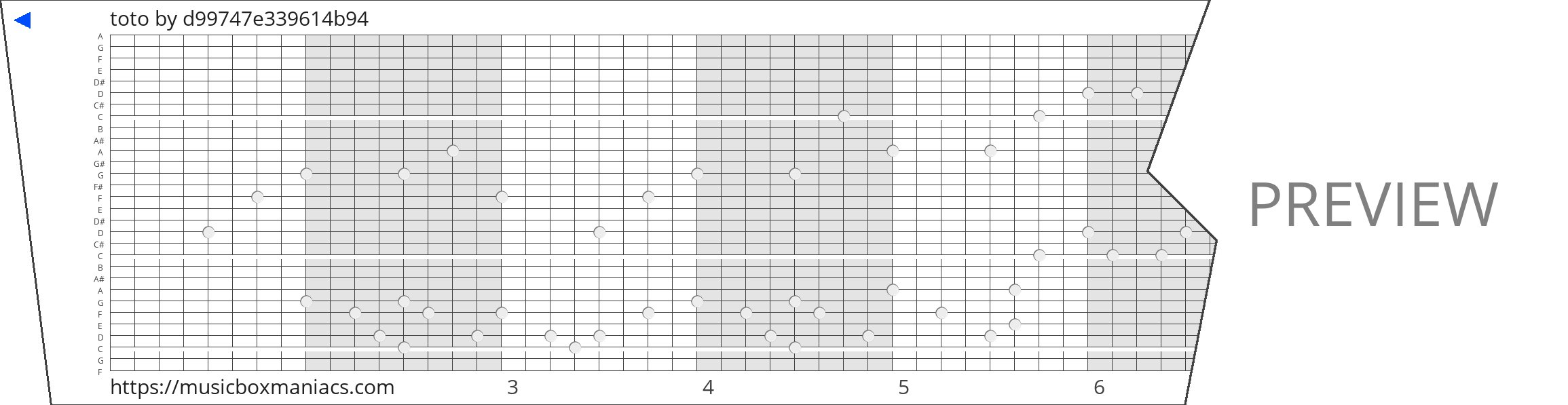 toto 30 note music box paper strip